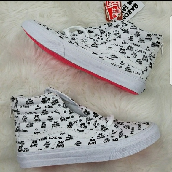e1502b3b39 Sk8 Hi Slim Zip Baron Von Fancy White Shoes W 9.5